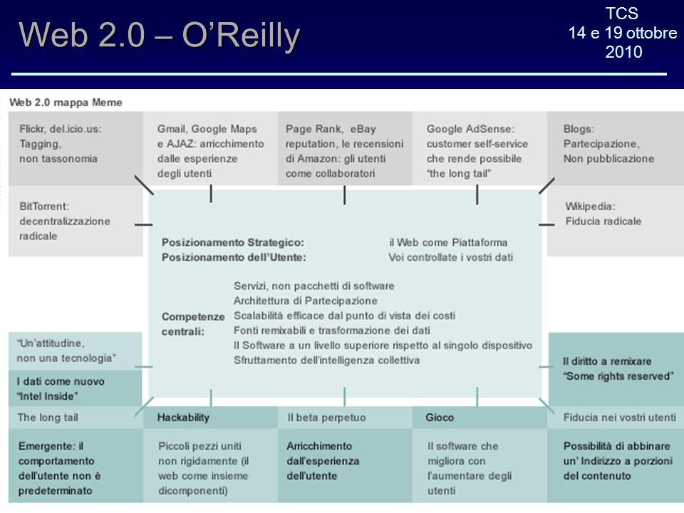 TCS 14 e 19 ottobre 2010 Web 2.0 – OReilly