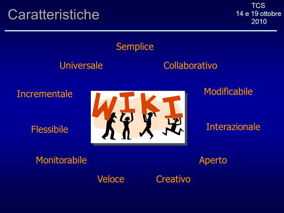 TCS 14 e 19 ottobre 2010Caratteristiche Flessibile Veloce Semplice Aperto Modificabile Incrementale Universale Monitorabile Collaborativo Interazionale Creativo