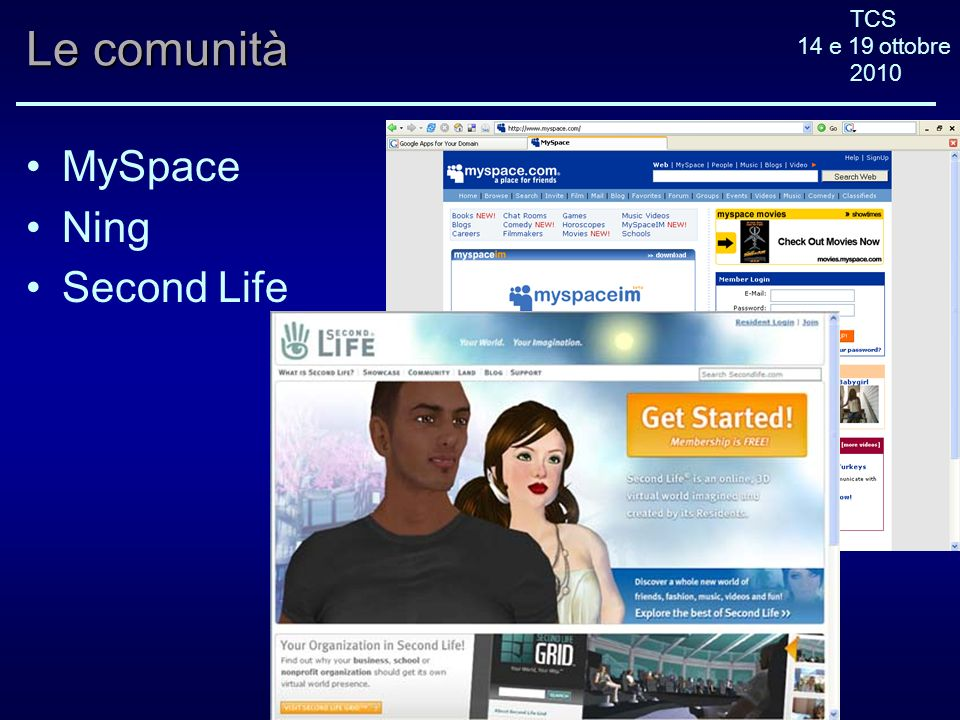 TCS 14 e 19 ottobre 2010 Le comunità MySpace Ning Second Life