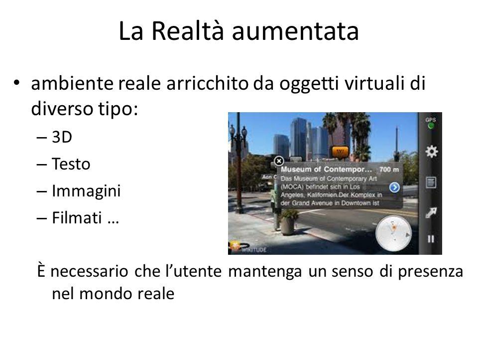 La Realtà aumentata ambiente reale arricchito da oggetti virtuali di diverso tipo: – 3D – Testo – Immagini – Filmati … È necessario che lutente manten