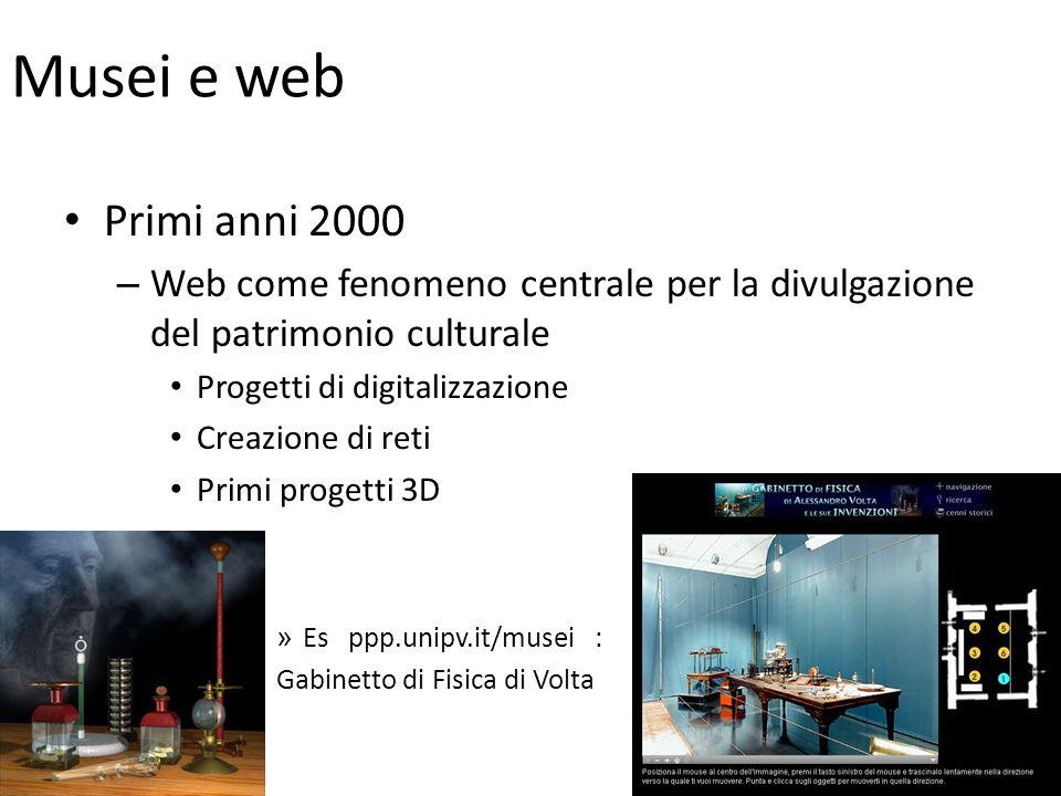 Musei e web Primi anni 2000 – Web come fenomeno centrale per la divulgazione del patrimonio culturale Progetti di digitalizzazione Creazione di reti Primi progetti 3D » Es ppp.unipv.it/musei : Gabinetto di Fisica di Volta