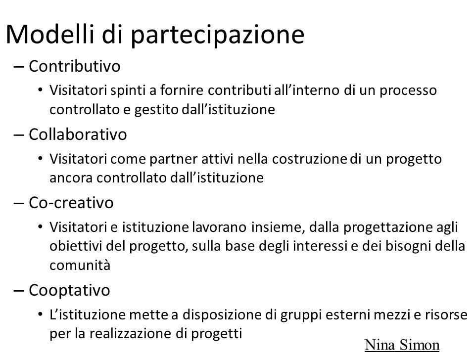 Modelli di partecipazione – Contributivo Visitatori spinti a fornire contributi allinterno di un processo controllato e gestito dallistituzione – Coll