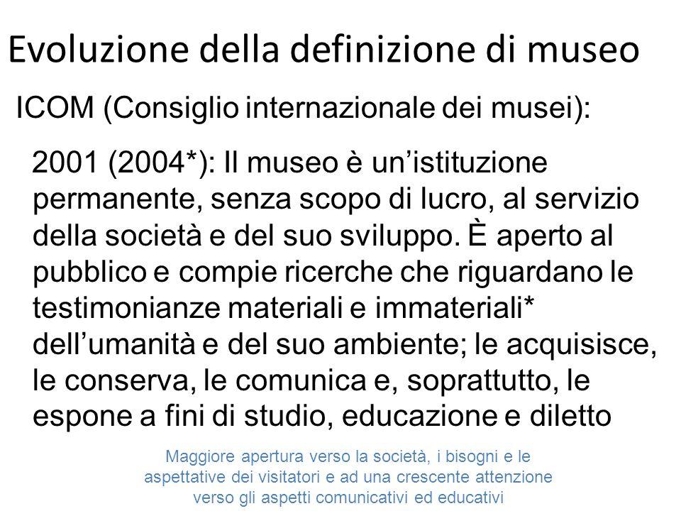 Evoluzione della definizione di museo ICOM (Consiglio internazionale dei musei): 2001 (2004*): Il museo è unistituzione permanente, senza scopo di lucro, al servizio della società e del suo sviluppo.