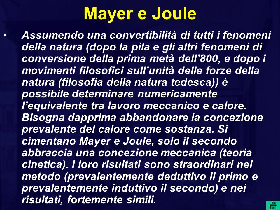 Mayer e Joule Assumendo una convertibilità di tutti i fenomeni della natura (dopo la pila e gli altri fenomeni di conversione della prima metà dell800, e dopo i movimenti filosofici sullunità delle forze della natura (filosofia della natura tedesca)) è possibile determinare numericamente lequivalente tra lavoro meccanico e calore.