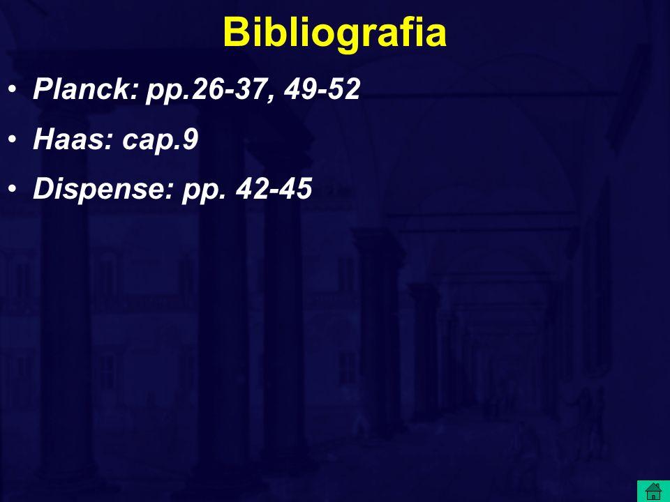 Bibliografia Planck: pp.26-37, 49-52 Haas: cap.9 Dispense: pp. 42-45