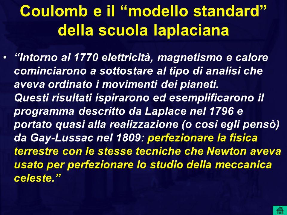 Coulomb e il modello standard della scuola laplaciana Intorno al 1770 elettricità, magnetismo e calore cominciarono a sottostare al tipo di analisi ch