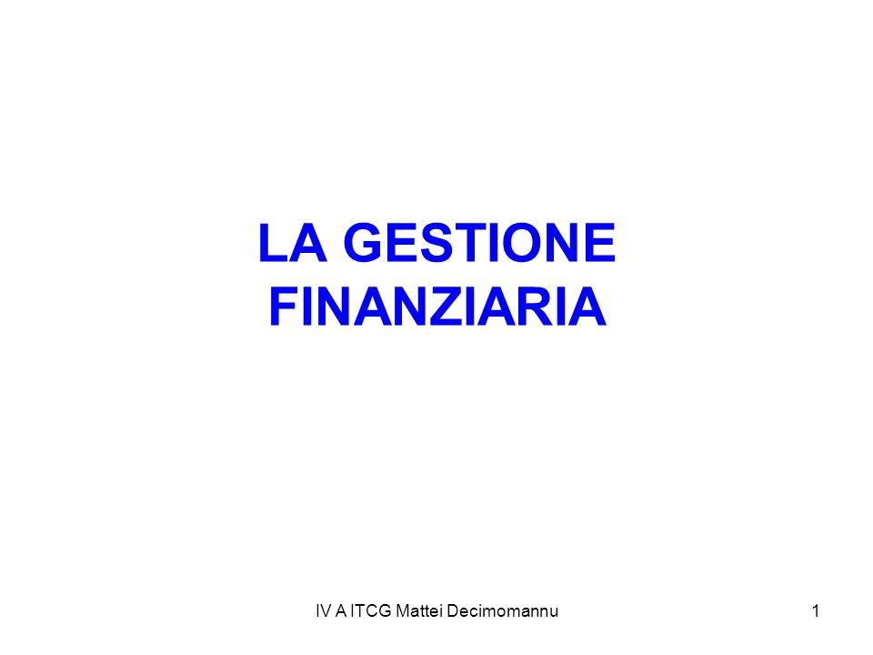 IV A ITCG Mattei Decimomannu1 LA GESTIONE FINANZIARIA