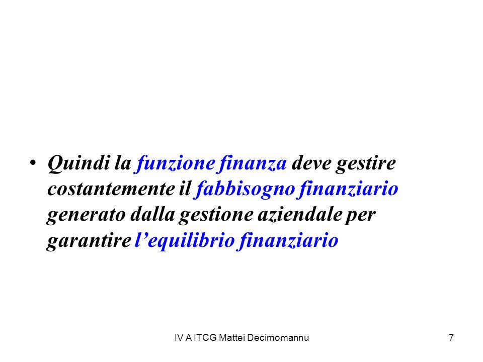 IV A ITCG Mattei Decimomannu7 Quindi la funzione finanza deve gestire costantemente il fabbisogno finanziario generato dalla gestione aziendale per garantire lequilibrio finanziario