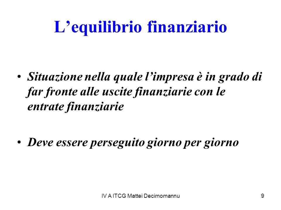 IV A ITCG Mattei Decimomannu9 Lequilibrio finanziario Situazione nella quale limpresa è in grado di far fronte alle uscite finanziarie con le entrate finanziarie Deve essere perseguito giorno per giorno