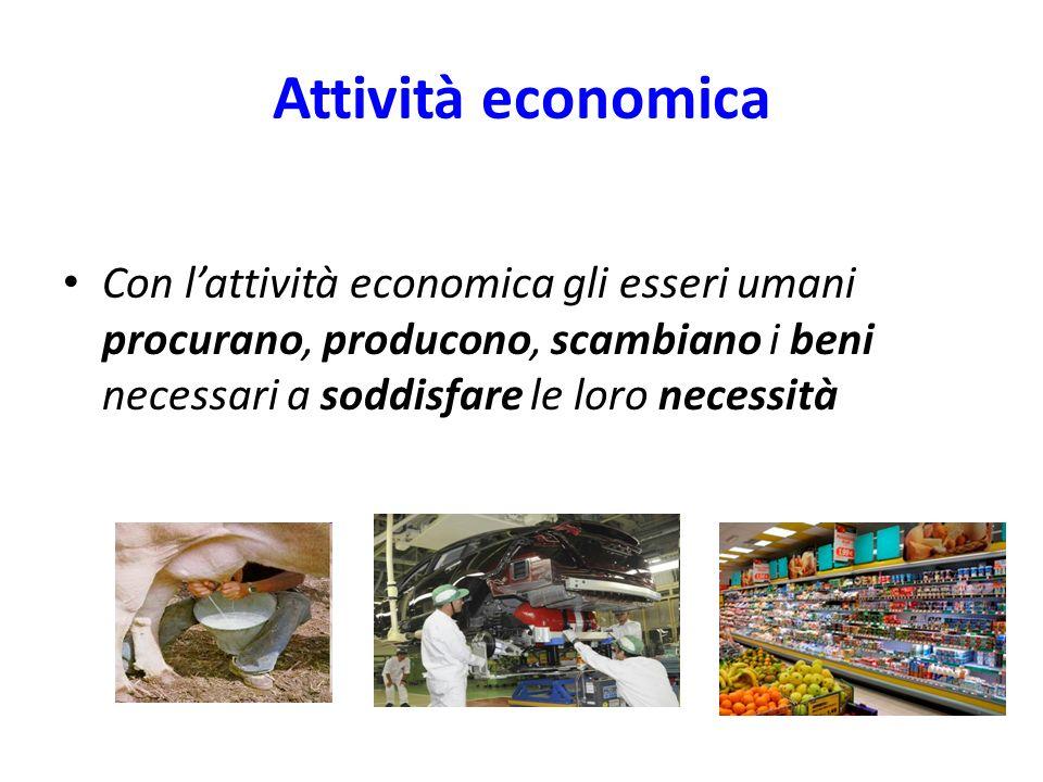 Attività economica Con lattività economica gli esseri umani procurano, producono, scambiano i beni necessari a soddisfare le loro necessità