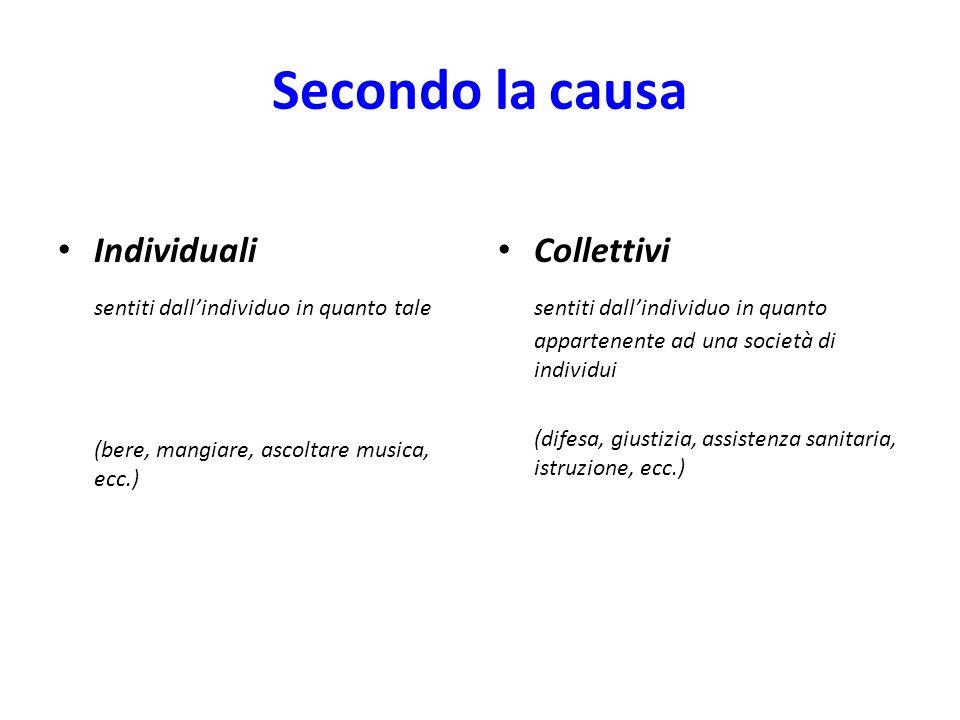 Secondo la causa Individuali sentiti dallindividuo in quanto tale (bere, mangiare, ascoltare musica, ecc.) Collettivi sentiti dallindividuo in quanto