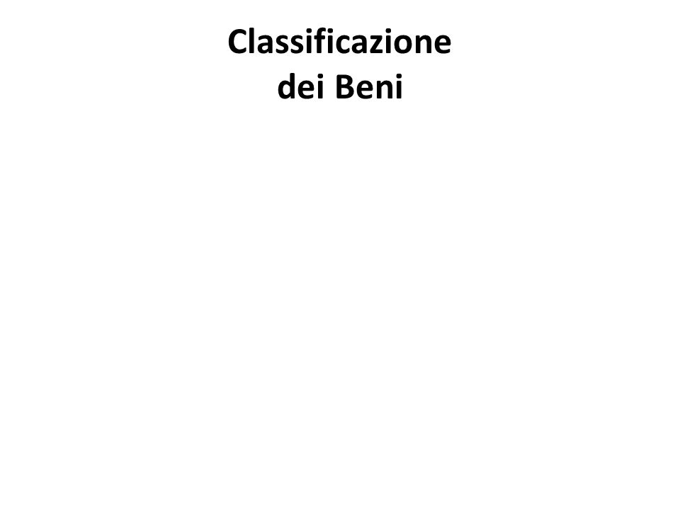 Classificazione dei Beni