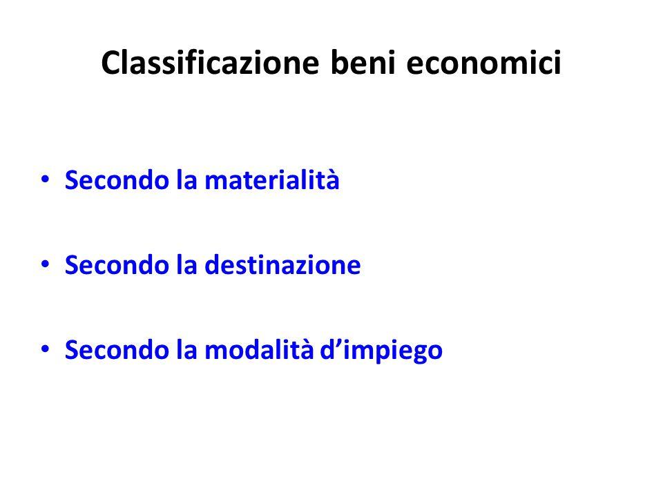 Classificazione beni economici Secondo la materialità Secondo la destinazione Secondo la modalità dimpiego