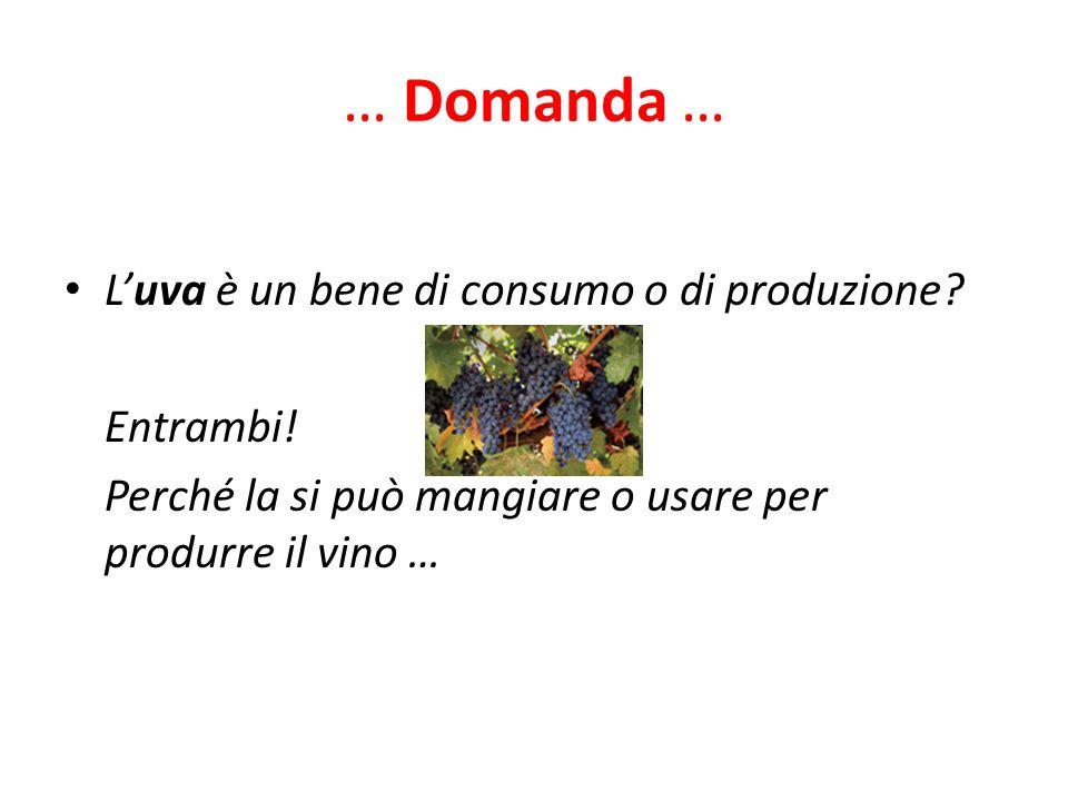 … Domanda … Luva è un bene di consumo o di produzione? Entrambi! Perché la si può mangiare o usare per produrre il vino …