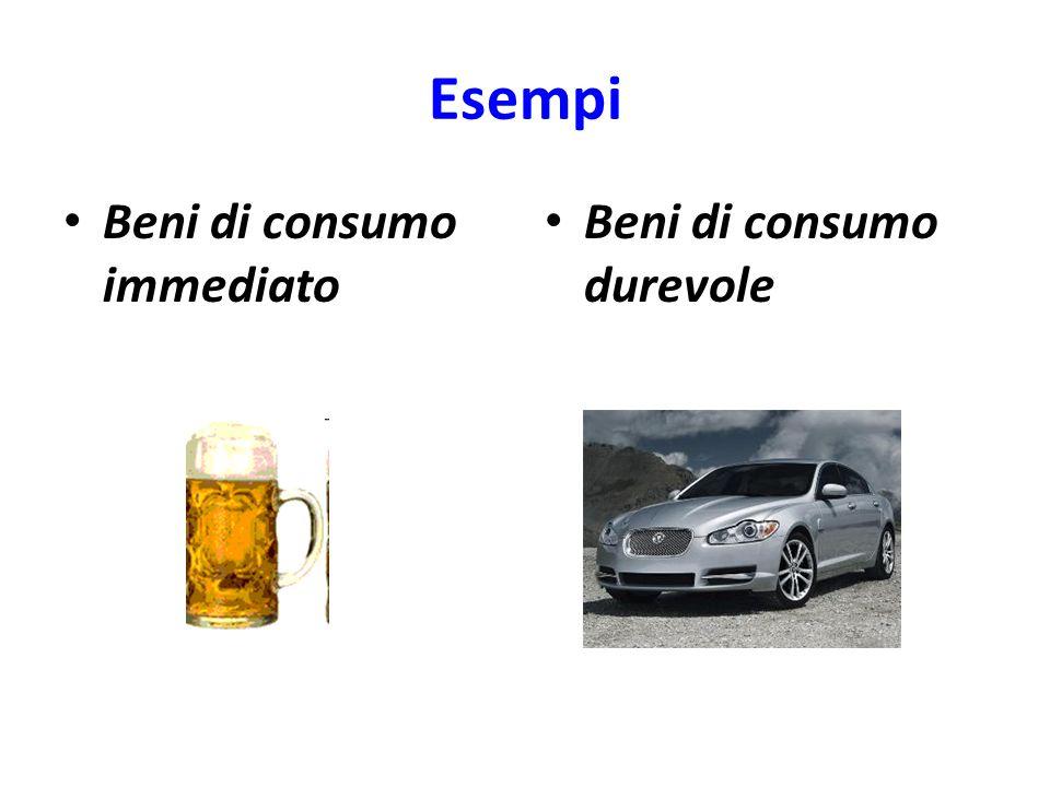 Esempi Beni di consumo immediato Beni di consumo durevole
