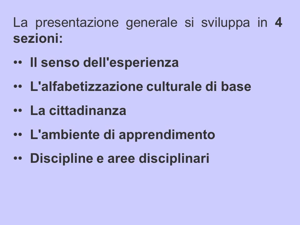 La presentazione generale si sviluppa in 4 sezioni: Il senso dell esperienza L alfabetizzazione culturale di base La cittadinanza L ambiente di apprendimento Discipline e aree disciplinari