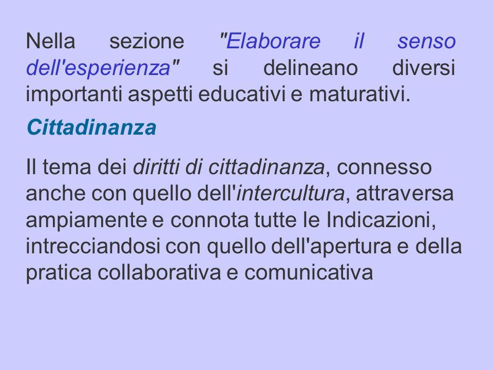 Nella sezione Elaborare il senso dell esperienza si delineano diversi importanti aspetti educativi e maturativi.