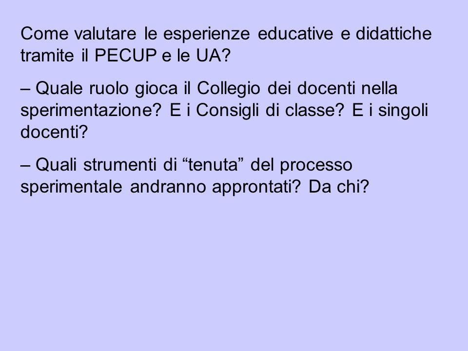 Come valutare le esperienze educative e didattiche tramite il PECUP e le UA? – Quale ruolo gioca il Collegio dei docenti nella sperimentazione? E i Co