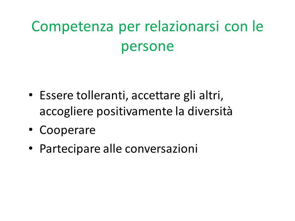 Competenza per relazionarsi con le persone Essere tolleranti, accettare gli altri, accogliere positivamente la diversità Cooperare Partecipare alle co