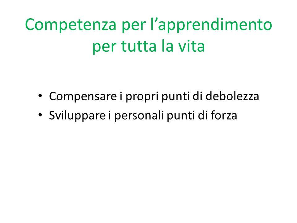 Competenza per lapprendimento per tutta la vita Compensare i propri punti di debolezza Sviluppare i personali punti di forza
