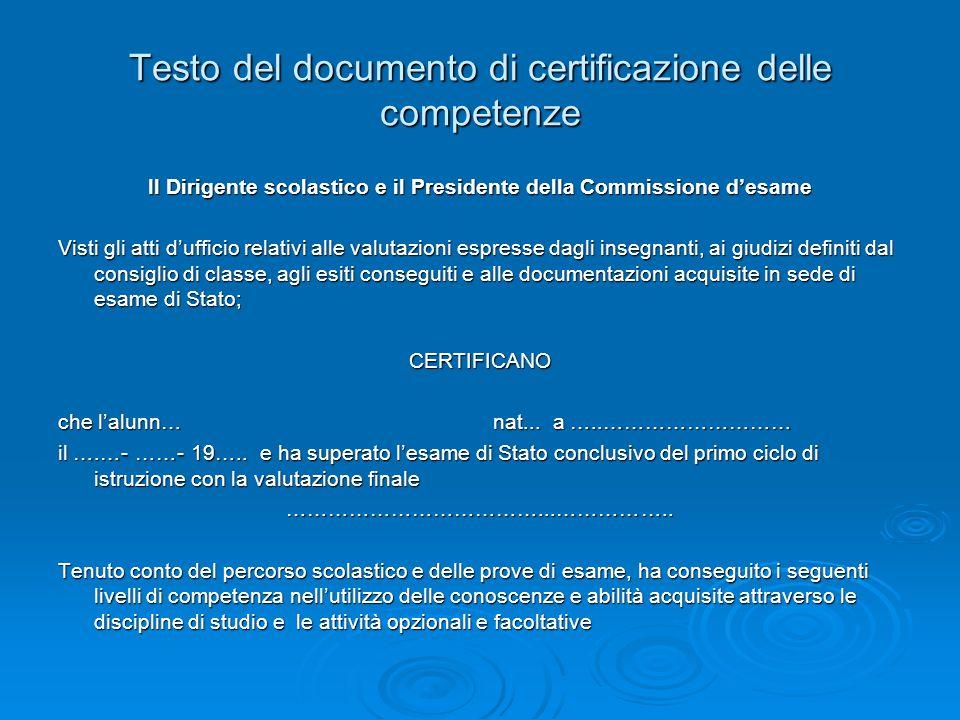 Testo del documento di certificazione delle competenze Il Dirigente scolastico e il Presidente della Commissione desame Visti gli atti dufficio relati