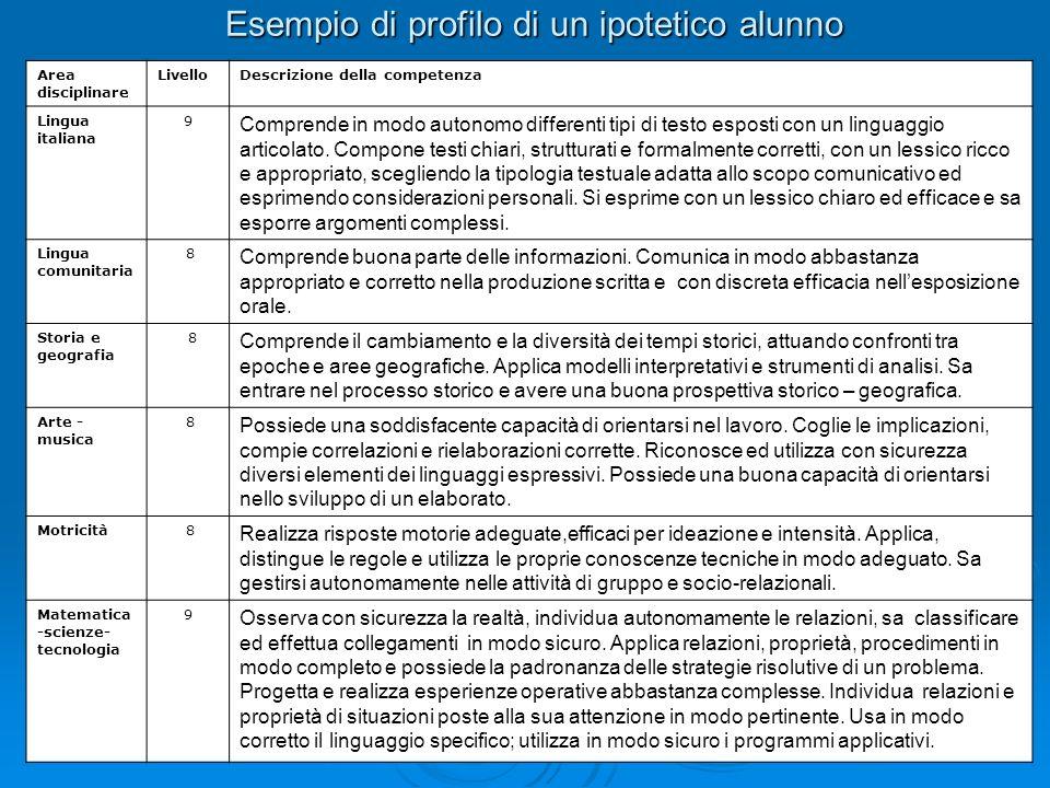 Esempio di profilo di un ipotetico alunno Area disciplinare LivelloDescrizione della competenza Lingua italiana 9 Comprende in modo autonomo different