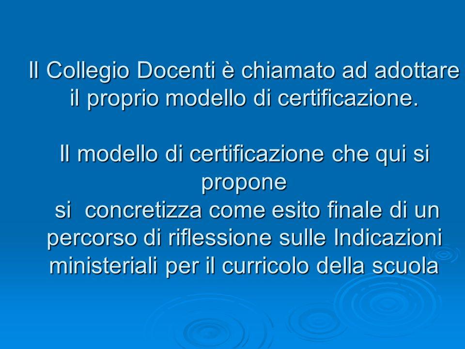 Il Collegio Docenti è chiamato ad adottare il proprio modello di certificazione. Il modello di certificazione che qui si propone si concretizza come e