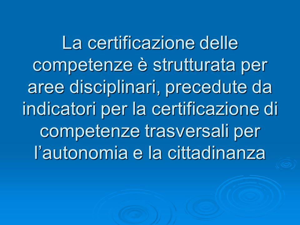 La certificazione delle competenze è strutturata per aree disciplinari, precedute da indicatori per la certificazione di competenze trasversali per la