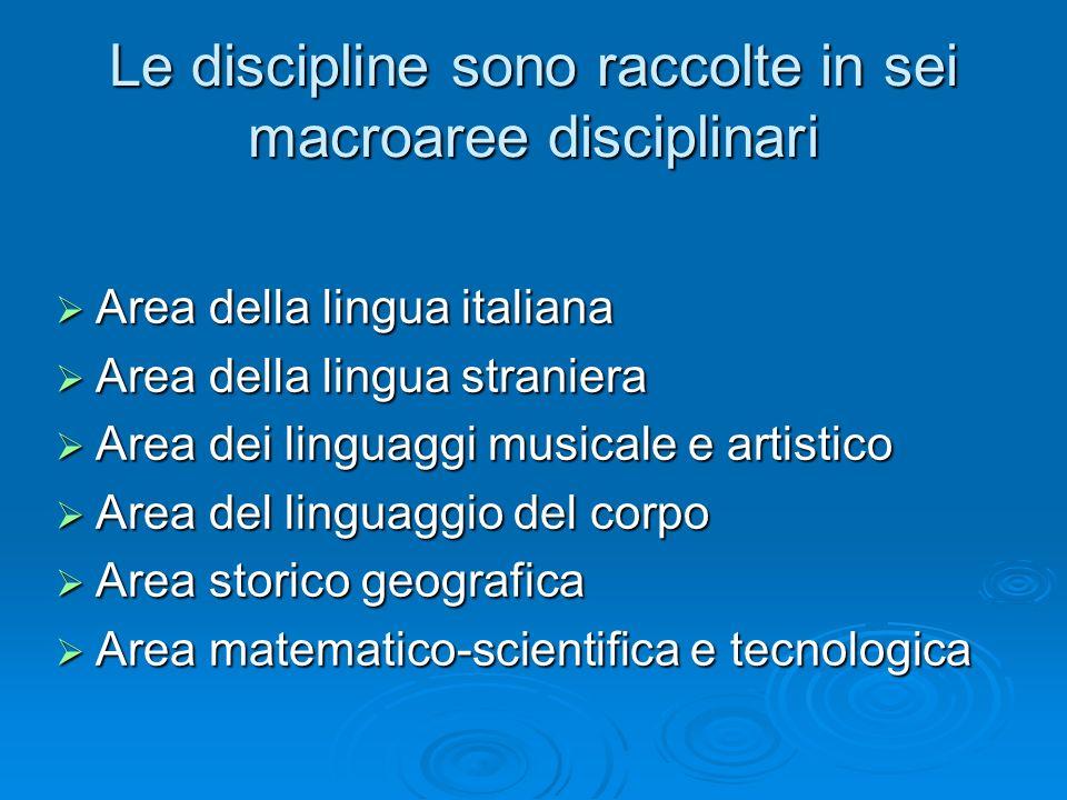Le discipline sono raccolte in sei macroaree disciplinari Area della lingua italiana Area della lingua italiana Area della lingua straniera Area della