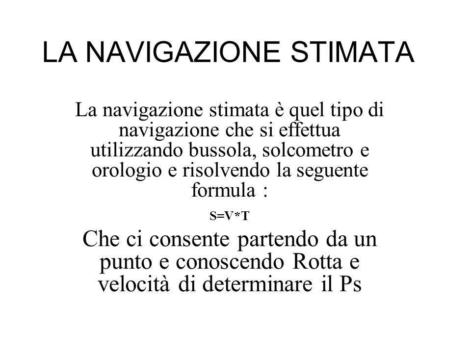LA NAVIGAZIONE STIMATA La navigazione stimata è quel tipo di navigazione che si effettua utilizzando bussola, solcometro e orologio e risolvendo la se