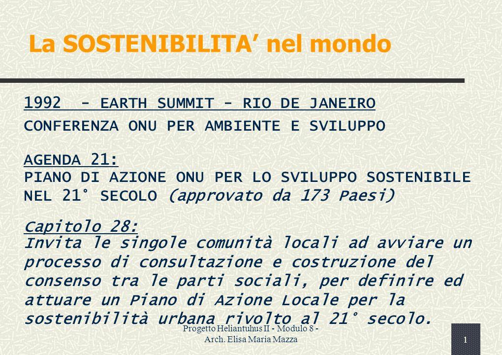 Progetto Heliantuhus II - Modulo 8 - Arch.Elisa Maria Mazza11 Gli indicatori sono…..