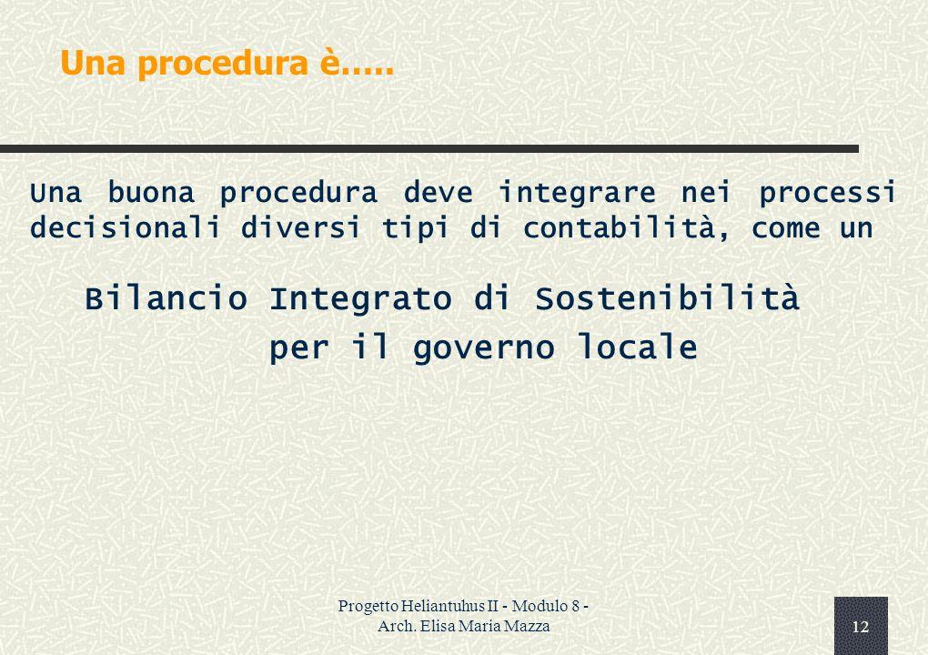 Progetto Heliantuhus II - Modulo 8 - Arch. Elisa Maria Mazza11 Gli indicatori sono…..
