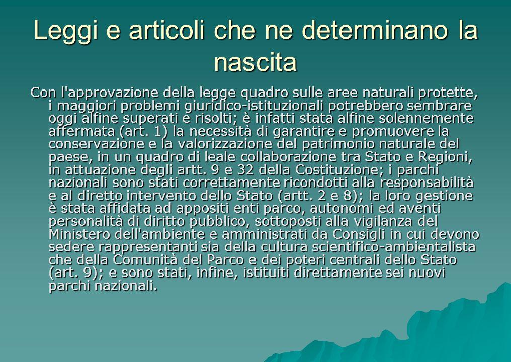 Leggi e articoli che ne determinano la nascita Con l'approvazione della legge quadro sulle aree naturali protette, i maggiori problemi giuridico-istit