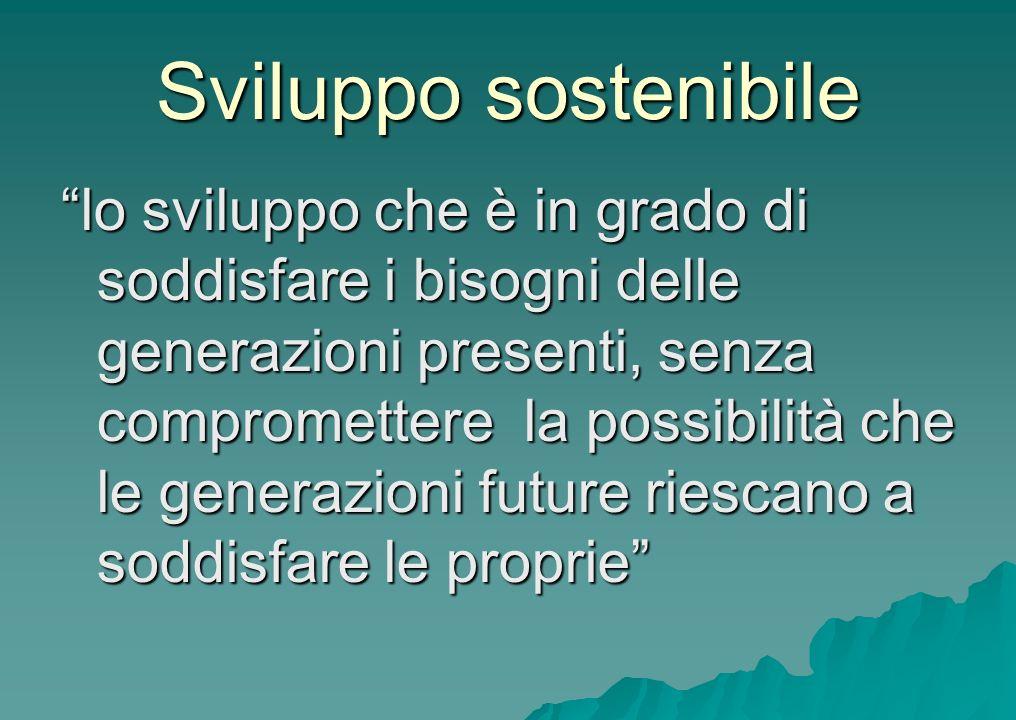 Sviluppo sostenibile lo sviluppo che è in grado di soddisfare i bisogni delle generazioni presenti, senza compromettere la possibilità che le generazi