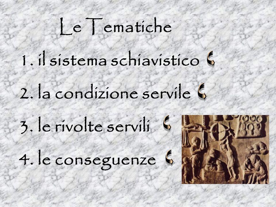 Le Tematiche 1. 1. il sistema schiavistico 2. 2. la condizione servile 3. 3. le rivolte servili 4. 4. le conseguenze