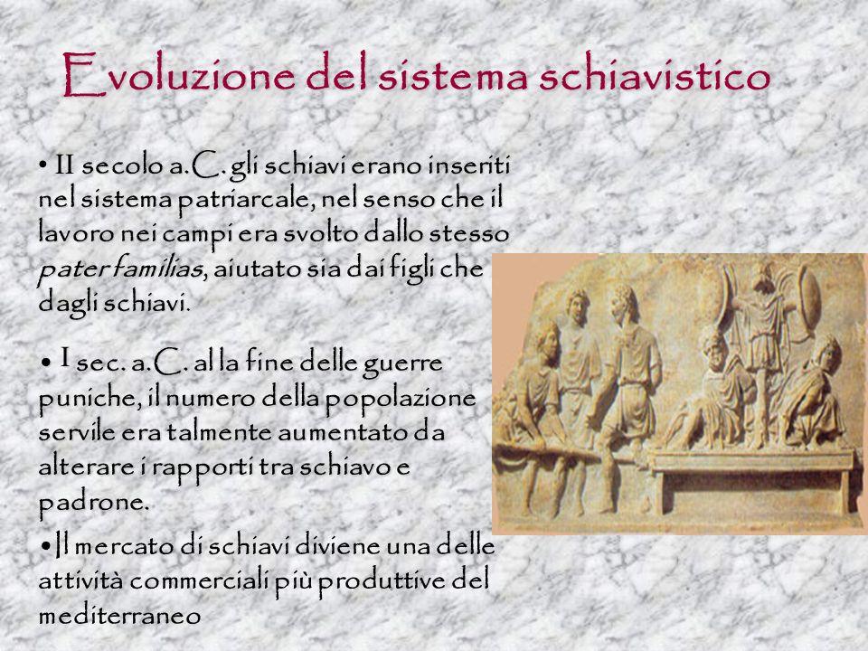 Evoluzione del sistema schiavistico secolo a.C.gli schiavi erano inseriti nel sistema patriarcale, nel senso che il lavoro nei campi era svolto dallo