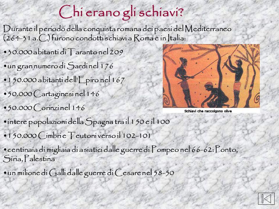 Chi erano gli schiavi? Durante il periodo della conquista romana dei paesi del Mediterraneo (264-31 a.C.) furono condotti schiavi a Roma e in Italia:
