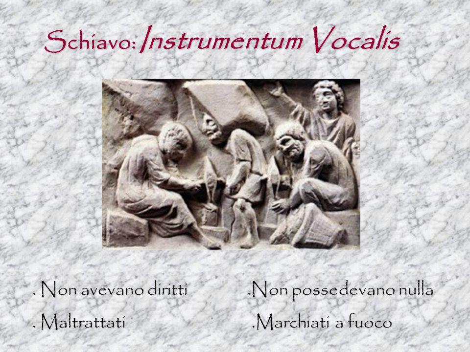 Schiavo: Instrumentum Vocalis. Non avevano diritti.Non possedevano nulla. Maltrattati.Marchiati a fuoco