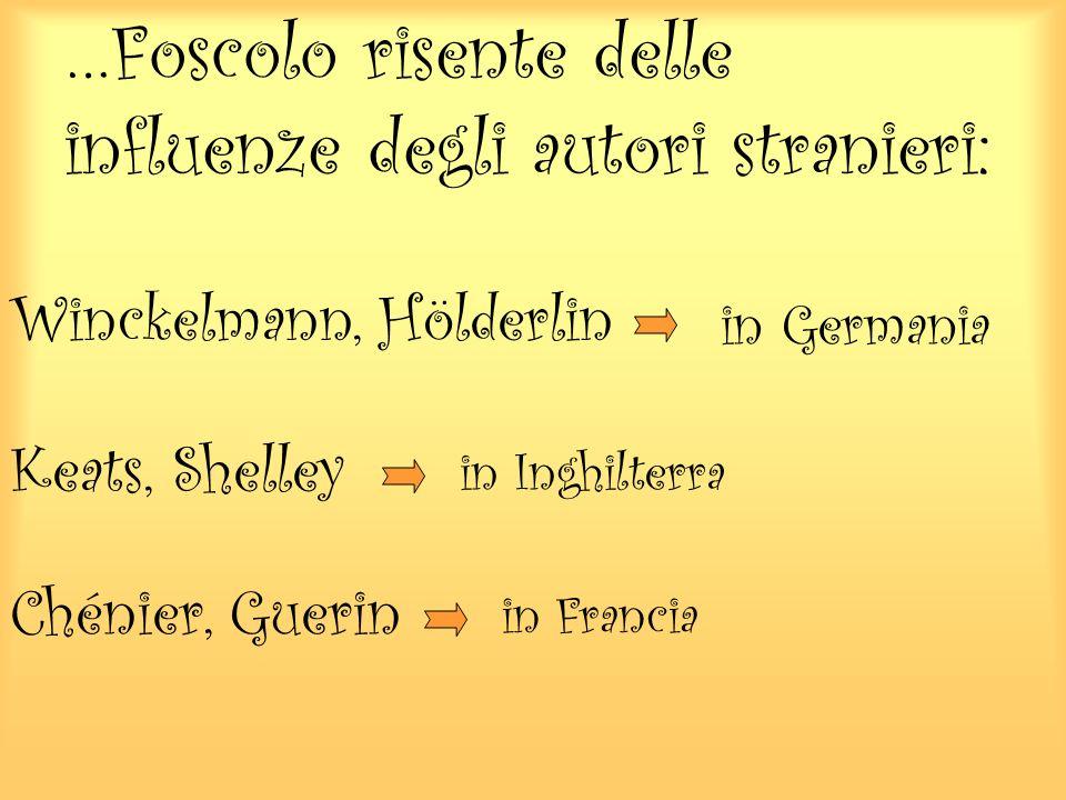 …Foscolo risente delle influenze degli autori stranieri: Winckelmann, Hölderlin in Germania Keats, Shelley in Inghilterra Chénier, Guerin in Francia