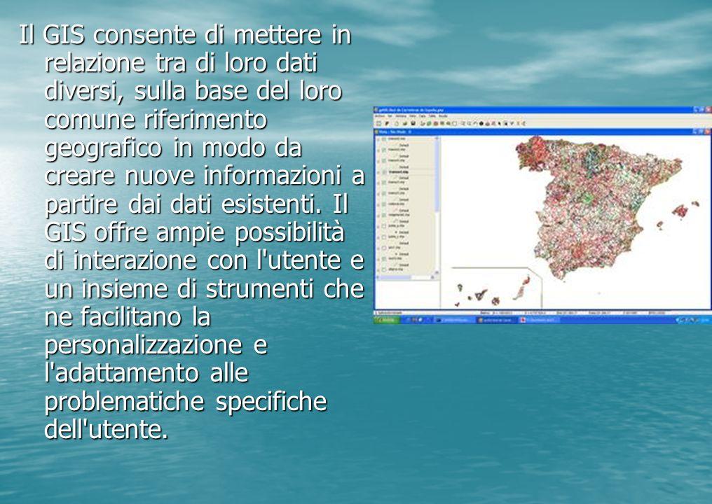Il GIS consente di mettere in relazione tra di loro dati diversi, sulla base del loro comune riferimento geografico in modo da creare nuove informazioni a partire dai dati esistenti.