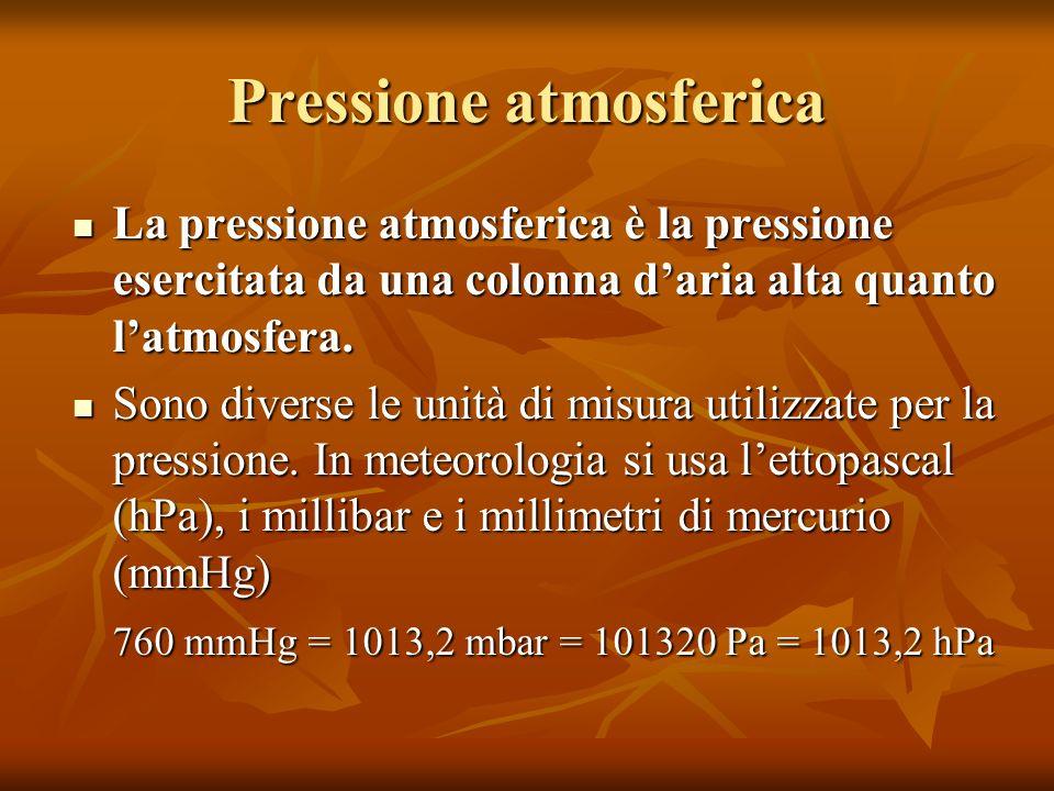 Pressione atmosferica La pressione atmosferica è la pressione esercitata da una colonna daria alta quanto latmosfera. La pressione atmosferica è la pr