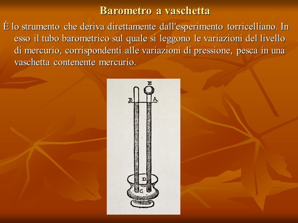 Barometro a vaschetta È lo strumento che deriva direttamente dall'esperimento torricelliano. In esso il tubo barometrico sul quale si leggono le varia