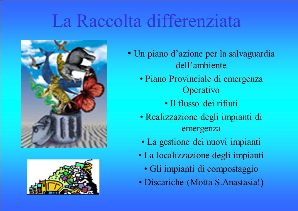 La Raccolta differenziata Un piano dazione per la salvaguardia dellambiente Piano Provinciale di emergenza Operativo Il flusso dei rifiuti Realizzazio