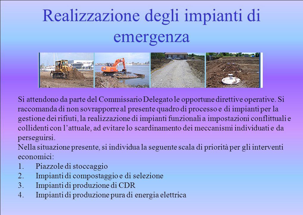 Realizzazione degli impianti di emergenza Si attendono da parte del Commissario Delegato le opportune direttive operative.