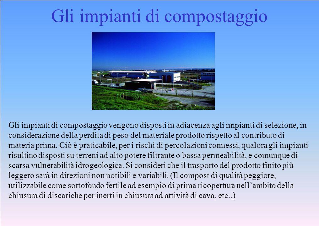 Gli impianti di compostaggio Gli impianti di compostaggio vengono disposti in adiacenza agli impianti di selezione, in considerazione della perdita di