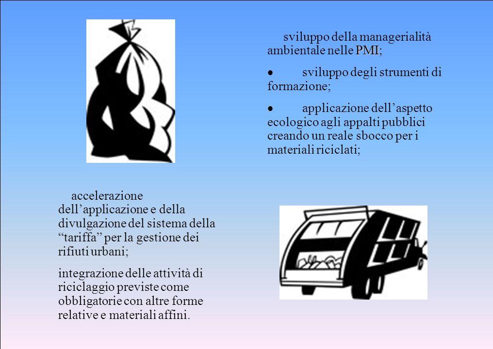 PMI sviluppo della managerialità ambientale nelle PMI; sviluppo degli strumenti di formazione; applicazione dellaspetto ecologico agli appalti pubblic