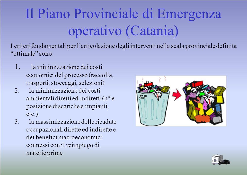 Il Piano Provinciale di Emergenza operativo (Catania) I criteri fondamentali per larticolazione degli interventi nella scala provinciale definita ottimale sono: 1.