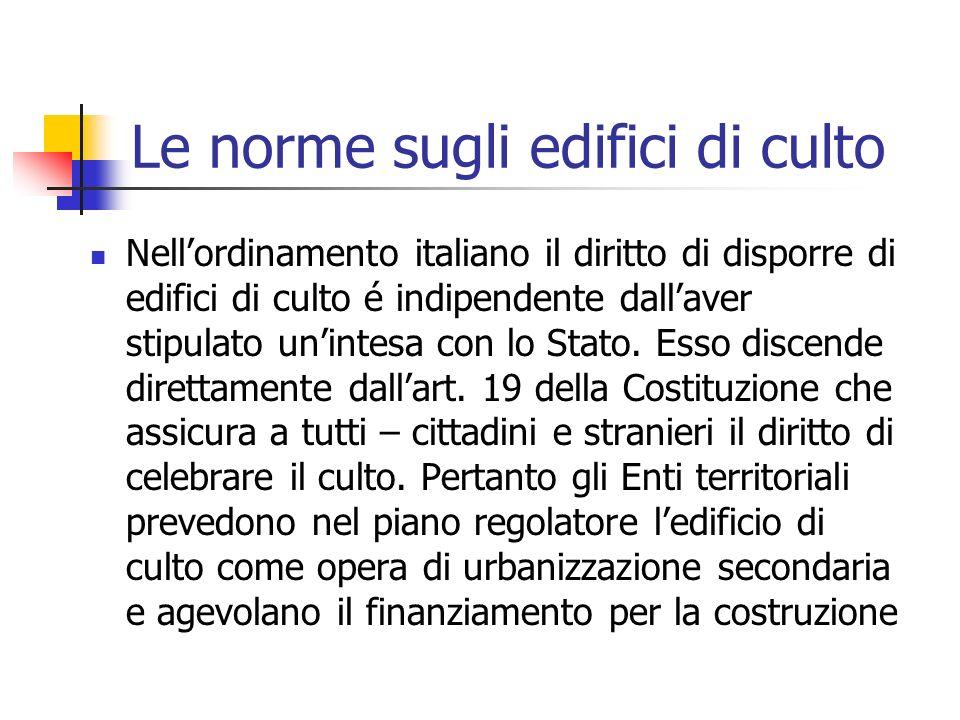 Le norme sugli edifici di culto Nellordinamento italiano il diritto di disporre di edifici di culto é indipendente dallaver stipulato unintesa con lo