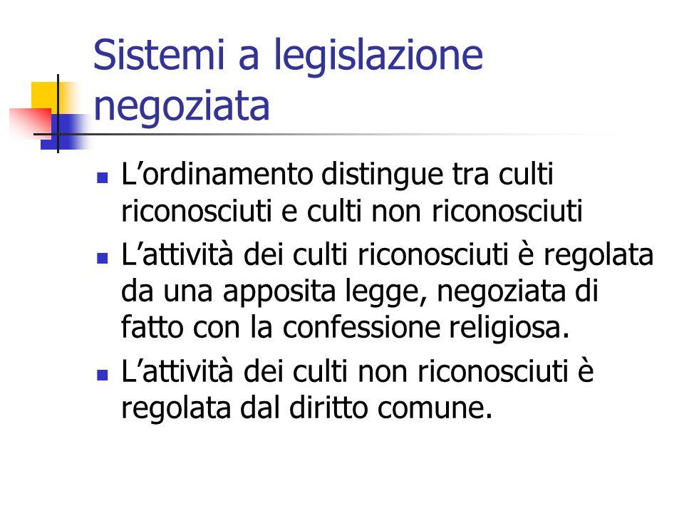 Sistemi a legislazione negoziata Lordinamento distingue tra culti riconosciuti e culti non riconosciuti Lattività dei culti riconosciuti è regolata da