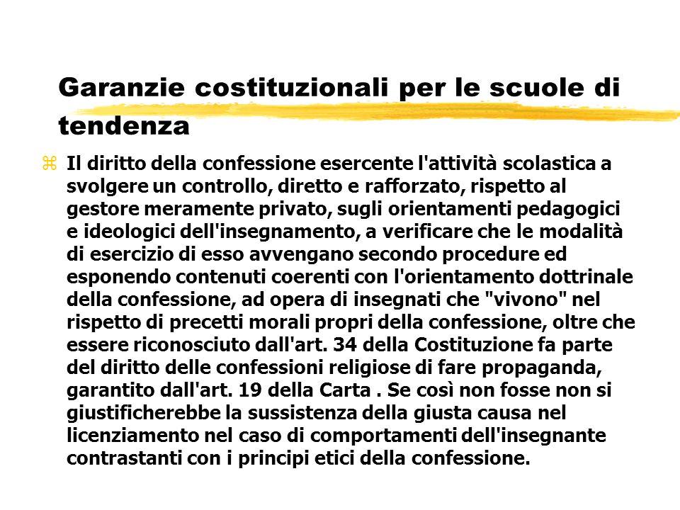 Garanzie costituzionali per le scuole di tendenza zIl diritto della confessione esercente l'attività scolastica a svolgere un controllo, diretto e raf